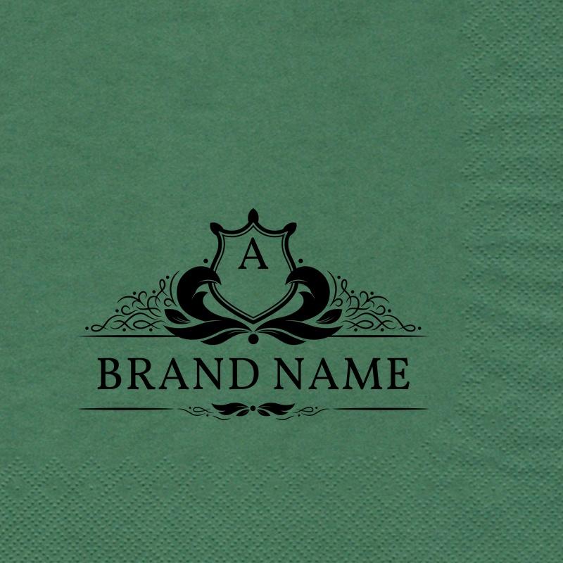 Gröna pappersservetter 33x33 cm med tryck hot stamp, Serviettes en papier vert 33x33 cm personnalisés par estampée à chaudSerwetki 33x33 papierowe zielony z nadrukiem hot-stamping, Green paper napkins 33x33 cm customized by foil hot stamp,